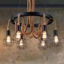 6 Light Vintage Hemp Rope Chandelier Ceiling Fixture Pendant Cage Lighting Lamp