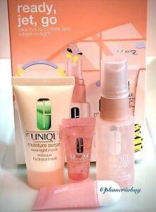 CLINIQUE Moisture Surge Face Spray+Overnight Mask+Lip+Eye READY, JET, GO SET 4pc