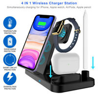 4in1 Qi Wireless Charger Fast Charging Dock Stand For Airpods Apple Watch iPhone