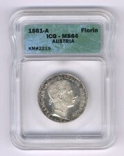 AUSTRIA  1861-A  1 FLORIN SILVER COIN, CHOICE UNCIRCULATED, ICG CERTIFIED MS-64