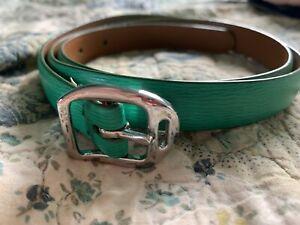 "ralph lauren Leather Belt NWOT Gucci Green Saffiano, Sz L 3/4"" Silver Buckle"