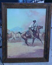 Western Art Print, Illegible Sig, Horse Wrangler, Signed, Framed