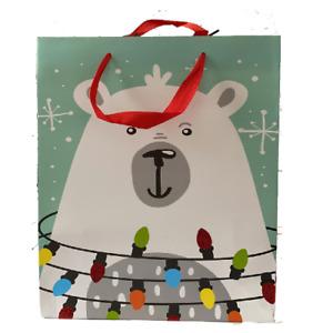 Christmas Gift Bags - 2 pack - Medium - Luxury Traditional Glitter Santa Xmas UK