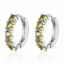 New White Gold Plated Silver 5 Peridot Green Gemstone Round Huggie Hoop Earrings