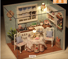 DIY Miniature Dollhouse Kit Decorations with Lights and Furnitures Hand Craft