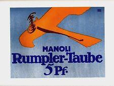Original vintage poster print MANOLI RUMPLER TAUBE AIRPLANE c.1913 Bernhard