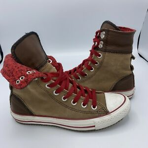 Converse Chuck Taylor All Star High Top Size 7 Brown Red Suede + Leather Women's