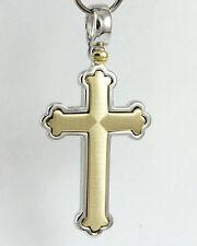 14k Yellow and White Gold Cross Pendant, (NEW beautiful, 4.10g crucifix) #1362a
