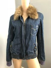 ROXY faux fur collar winter denim jacket 14L EUC