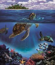 New Honu Sea Turtle Plush Fleece Throw Gift Blanket Sherpa Coral Reef Turtles