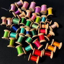 More details for 42 vintage wooden cotton reel bobbins multi colour thread clark & co
