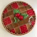 Vintage Ceramic Cherry Pie Keeper Covered Dish Plate Made In Japan 11 1/2 inches