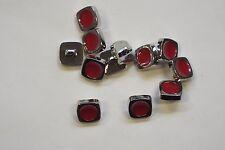 10pc 11mm Argento Brillante & Rossetto Rosso Camicia Cardigan Maglieria KID pulsante 0854