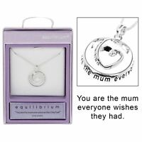 Equilibrium Silver Plated Heart Circle Necklace Mum Jewellery Gift Novelty