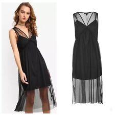 98462d307d TOPSHOP Tulle Midi Dress Size 6 Sleeveless Black Mesh NWT Ruffle Nordstrom  Bxn .