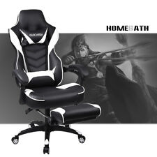 Video Computer Gaming Chair w/ Footrest Swivel High Back Recline PU Leather Seat