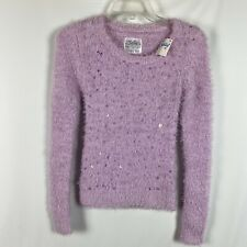 NWT Justice Size 12 Sweater Light Purple Eyelash Sequin Lavender New