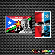 2x FILIBERTO OJEDA RIOS WITH MACHETE AND LARES FLAG VINYL CAR STICKERS DECALS