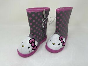 NEW! Hello Kitty Youth Girl's Fur Lined Fashion Boots Gray/Pink #09301 132J r