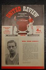 MANCHESTER UNITED V  BOLTON WANDERERS  1959/60  OFFICIAL PROGRAMME