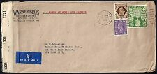 UK GB US 1942 CENSORED WAR TIME ADVERTISING COVER WARNER BROS LONDON TO NY