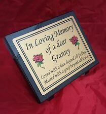 Personalised black Granite not Marble Memorial Grave Plaque Stone Grandmother