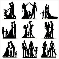 Family Wedding Cake Topper Bride Groom with Baby Kid BLACK ACRYLIC Decoration