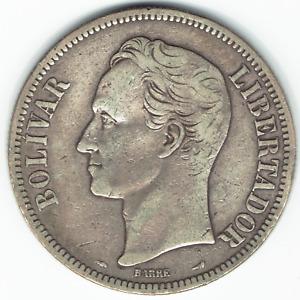 Silver Coin 1911 Venezuela Fuerte Libertador 5 Bolivares VF Y#24.2 Dollar