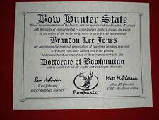 Deer Hunting Diploma ~ man cave ~ certificate ~ gift ~ Hunter