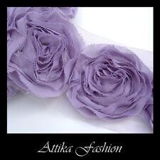Lavender Chiffon Mesh Frayed Lace Boutique Designer TRIM × 1y 12 Large Flowers