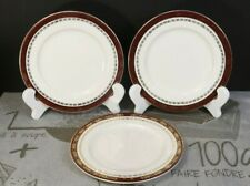 """LOT: 3 Alfred Meakin Kingsdale Maroon Cream 6 5/8"""" Bread & Butter Plates EXC!"""