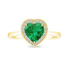 14K YELLOW GOLD FN 925 STERLING SILVER EMERALD HALO HEART SOLITAIRE RINGS SIZE 7