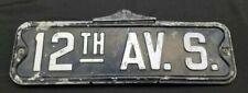 Vintage 1960's 1970's Street Sign 12th Av. S.