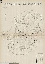 Comuni Provincia di Firenza nel 1938. Anno XVI Era Fascista. Carta Topografica