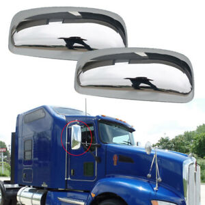 For 2008-2016 Kenworth T660 T600 T370 T170 Chrome Door Mirrors Covers Pair