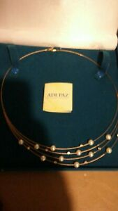 """ADI PAZ scattered stones & cultured pearl necklace. Stamped 14K, 19"""" gift boxed"""