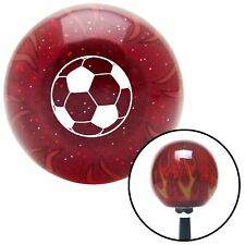 White Soccer Ball Red Flame Metal Flake Shift Knob w/ M16x1.5 Insert Shifter