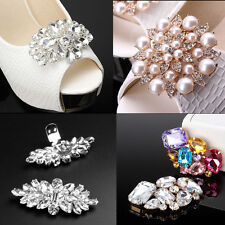 Pair Rhinestone Crystal Pearl Shoe Clips Tone Buckle Wedding Bridal Party Decor