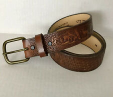 Vtg 90's Top Grain Cowhide Tooled Basketweave Deer Leather Belt Made in Texas 34