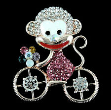 Venetti Monkey on a Bicycle Encrusted with genuine crystal colour stones Brooch