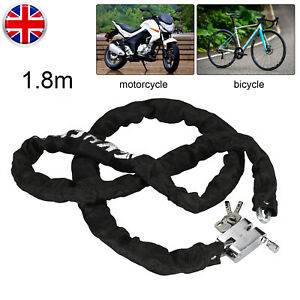 HEAVY DUTY STRONG MOTORCYCLE MOTORBIKE BIKE SECURITY CHAIN AND PADLOCK LOCK