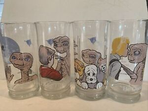 1982 ET Extra Terrestrial Movie Pizza Hut Complete Set of 4 Collector Glasses