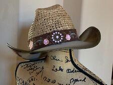 Women's OLIVE & PIQUE hard brimmed hat pink rose embroidered jewel embellished
