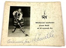 1950's Quebec Aces Camille Henry Signed Christmas Greetings Card  Vtg Hockey