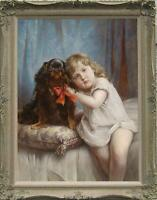 "Old Master-Art Antique Oil Painting Portrait small gir and dog on canvas 24""x36"""