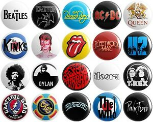 20 x Classic Rock Bands BUTTON PIN BADGES 25mm 1 INCH | Various Artists
