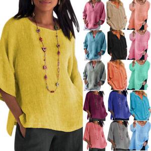 Women's Summer Short Sleeve T-Shirt Blouse Linen Casual Tunic Tops Tee Oversized