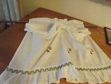 """White Ruffled Curtain Panel Roman Shade Rings Embroidered Pink Roses 30Wx34"""""""
