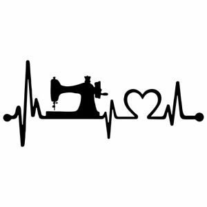 "8"" HEARTBEAT SEWING LOVE Vinyl Decal Sticker Car Window Laptop Sew Needle Thread"