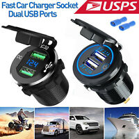 Dual QC 3.0 USB Fast Car Charger Socket Outlet W/Digital Voltmeter For Car Boat